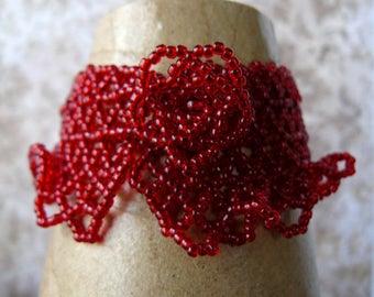 Red Beaded Lace Bracelet, Garnet Red Ruffled Bracelet, Bohemian Inspired Cuff, Romantic Jewelry, Lacy Red Bracelet, Beadwoven Jewelry