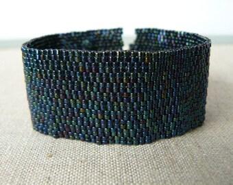 Black Iridescent Bracelet, Jet Black Goth Cuff Bracelet, Wide Beadwork Cuff, Iris Finish Beadwoven Jewelry Metal Free Jewelry