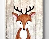 Print Deer , Nursery Room Print, girl or boy's room, print digital watercolor painting Wall Decor, gift baby's room baby gift