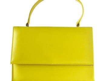 60s Mod Kelly Bag / Bright Yellow  Faux Leather Purse or Handbag / Summer Handbag / Easter Purse