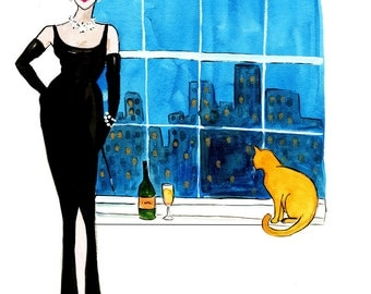 Breakfast At Tiffany's Print of Original Watercolor Fashion Illustration
