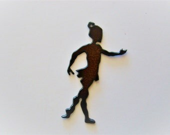 Child Ballerina Rustic Recycled Metal Pendant Cutout