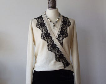 Ivory cardigan sweater with black lace adornment, soft wool criss cross cardigan, spring summer sweater, boho cardigan, READY TO SHIP