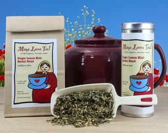 Ginger Lemon Mint Herbal Tea in a Bag or Tin, 100% Organic, Caffeine-free, Loose-Leaf Blend, Hot or Iced