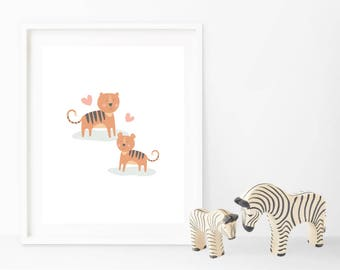 Instant Download Tiger and Cub Art - ideal for nursery or to give as a baby shower gift