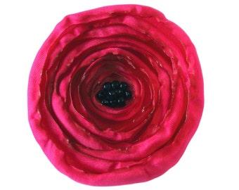 Large Deep Pink Fabric Poppy Brooch