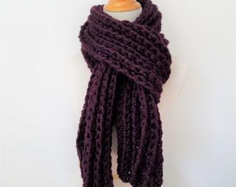 Ribbed Scarf, Oversized Scarf, Super Scarf, Chunky Scarf, Large Knit Scarf, Wool Scarf, Eggplant Scarf, Purple Scarf