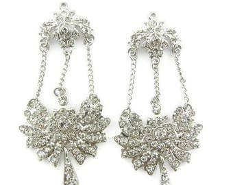 Pair of Rhinestone Floral Chain Chandelier Drop Charms