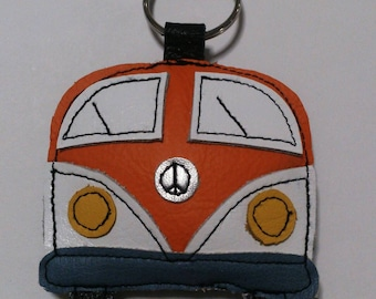 Handmade recycled upcycled orange leather campervan camper camping gift applique keyring keychain FREE UK SHIPPING