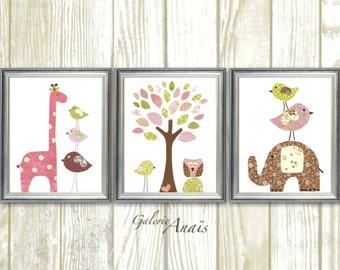 Nursery Decor baby girl room decor kids wall art nursery wall art tree owl nursery elephant nursery giraffe Bird Set of 3 prints