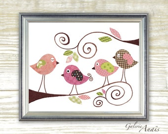 birds nursery Pink Nursery art prints - baby nursery decor - nursery art - children print - baby art Gossip Birds print