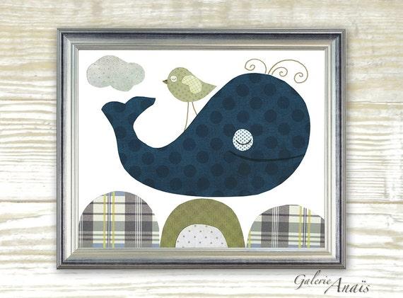 Wal kinderzimmer dekor marineblau grünes meer von galerieanais