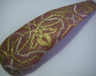Hand made vintage silk kimono Jumbo Hair snap clip (purple)
