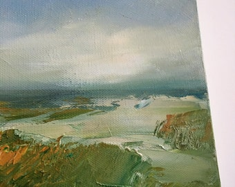 Which Way-Sandy Path- 6 x 6 Unframed- Oil on Stretched Canvas- Painting-Shore- Original Painting - Impressionistic-Atmospheric