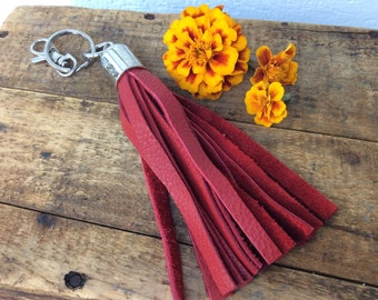 Bright Red Leather Tassel Keychain by Binding Bee RECLAIMED leather