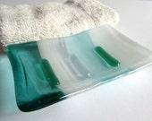 Fused Glass Soap Dish in Light Aqua, White and  Streaky Aquamarine