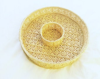 Vintage Chip and Dip Woven Platter