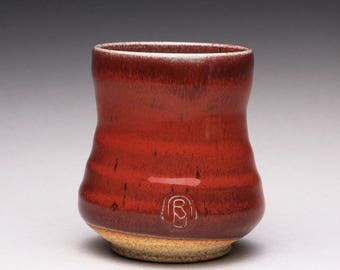handmade pottery cup, ceramic teacup, yunomi with bright red and green celadon glazes