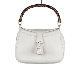 Authentic GUCCI Vintage RARE White Leather SEA shell handbag bamboo bag