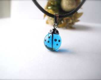Tiny Blue Ladybug Pendant
