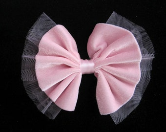 5.5 Inch PINK VELVET TULLE Net Ribbon Bow Tie Applique Valentines Bridal Baby Hair Accessory Pin