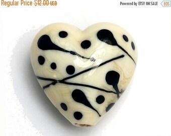 ON SALE 35% OFF Ivory w/Black Heart -11812705-Handmade Glass Lampwork Bead