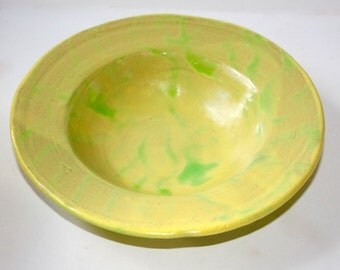 Yellow Green Ceramic  Stoneware Pasta Bowl Handthrown Serving Bowl