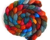 BFL Wool Roving - Hand Painted Spinning or Felting Fiber, Flannel Shirt