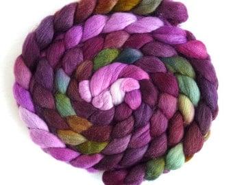 Polwarth/Silk Roving - Handpainted Spinning or Felting Fiber, Giant Celosia