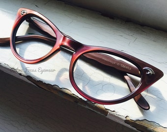 Rhubarb Red Cat Eye 1960's True Vintage Art Craft USA Eyeglass Frames Eyewear Eyeglasses