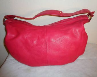 Sigrid Olsen thick buttery soft natural red  leather slouchy larger size   hobo, tote , shoulder bag , top zipper closure Near Mint vintage