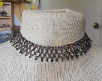 Netted Weave Beaded Choker Necklace in Chocolate Brown Black Adjustable Length OlyTeam