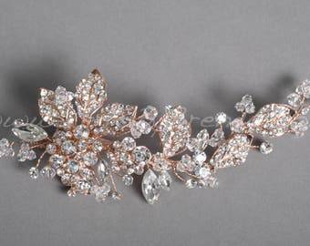Rose Gold Leaf Bridal Comb, Rose Gold Wedding Headpiece - Pamela