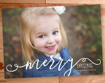 Christmas Photo Card, Calligraphy, Type, Merry Christmas, Full Bleed, Custom cards, Modern Photo card, Printable, christmas photo cards