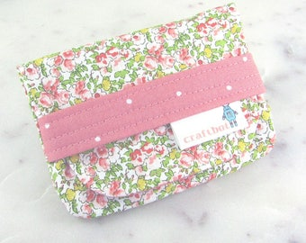 Birth Control Case, Birth Control Holder, Pill Sleeve, Vintage Floral, Peach Flowers, Pill Wallet, Birth Control Pouch, Pill Pouch, Shabby