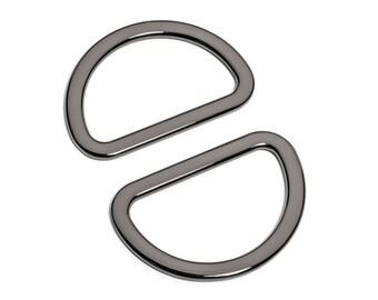 "30pcs - 1 1/2"" (38mm) Flat Zinc D-Ring - Black Nickel - (FDR-119) - Free Shipping"