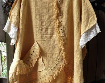 Reserved for Becky-Vintage Cotton Bedspread Fringey Top/ Reclaimed Retro Bedspread Caftan/ One Size Comfortable Pop Over Jeans Tunic