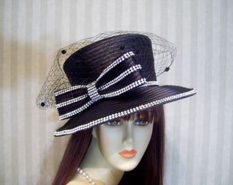 Kentucky Derby Hat, Preakness Hat, Church Hat, BLacK Hat, Belmont Hat, Easter Hat, Ascot Hat, Downton Abbey Hat By Ms.Purdy