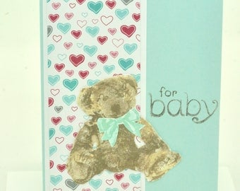 Baby Bear Shower Card, Teddy Bear Card, Handmade New Baby Card, Birth Gift Card Holder, Infant Money Enclosure, New Parent Card,