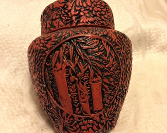 Vintage Lacquerware Tobacco Jar or Ginger Jar. It Looks Similar to Cinnabar and is Lined with Aluminum. 5 Inches Tall and 4 Inches Across