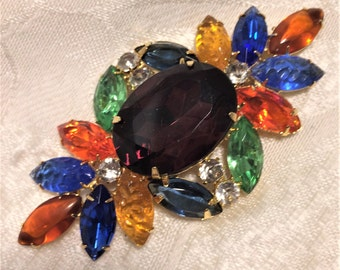 Vintage Brooch with Multicolored Rhinestones, Large Central Purple Stone and Molded Glass. About 3 by 1 1/2 Inches. Prong Set Stones.  (D9)
