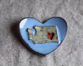 Washington Heart Dish in Stoneware with Blue Glaze