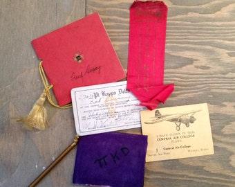 Vintage College College of Idaho Debate Team Fraternity Paper Ephemera Collection 1930's, Delta Kappa Phi Memebership Card
