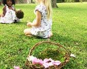 Set of 2 Barefoot Flower Girl Baskets, Wild Honeysuckle Twig Baskets, Moss Lined Baskets, 2ELL