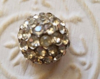Vintage Button - 1 beautiful  large domed design rhinestone embellished, antique silver finish metal (feb31 17))