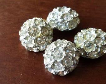 Vintage Buttons-4 beautiful matching rhinestones silver metal (mar 225 17)