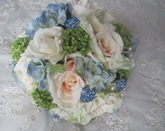 Reserved listing......Ali DiGenova....Cottage Farm Style Realtouch Rose Silk Blue Hydrangea Bridal and Bridesmaids Bouquet Set
