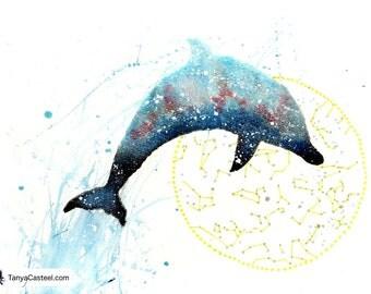 Dolphin ORIGINAL Watercolor Galaxy Spirit Totem Animal Guide 9x12