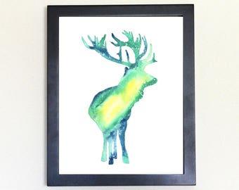 Elk Spirit Animal Art Print Watercolor Totem Guide