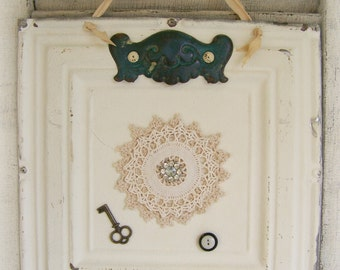 Victorian Ceiling Tin Art Hanging Repurposed Ceiling Tin Magnet Board Vintage Lace Antique Decor Architectural Salvage Shabby White Decor